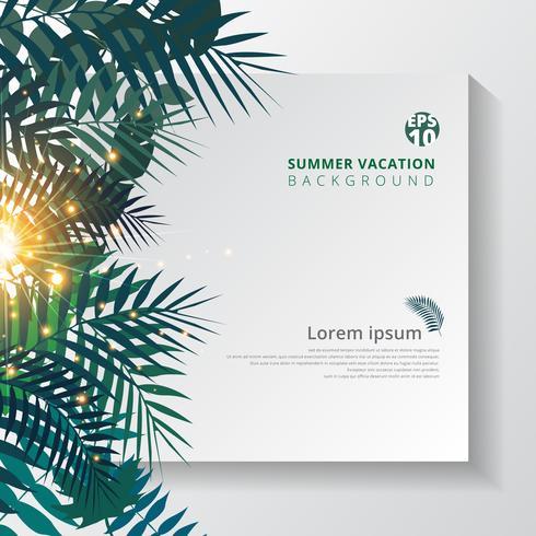 zomer tropisch met exotische palmbladeren of planten en verlichting effect op wit papier achtergrond. vector