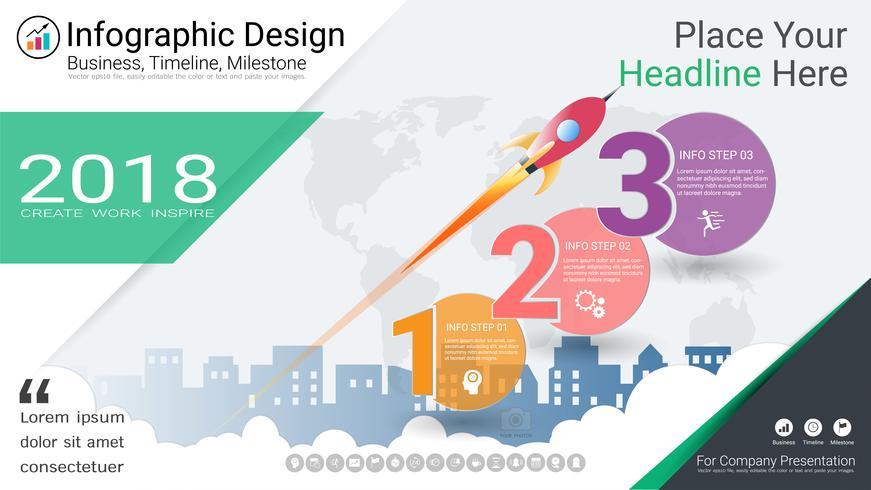 Plantilla de infografías de negocios, línea de tiempo de Milestone o hoja de ruta con opciones de diagrama de flujo de proceso 3.