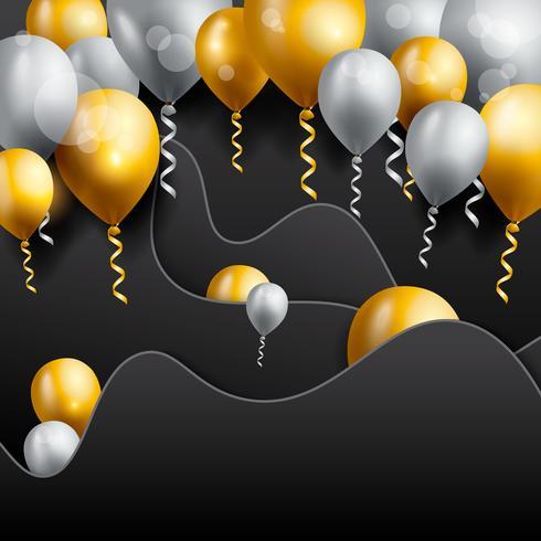 Fondo de celebración de cumpleaños, fondo de pantalla de globo de cumpleaños vector