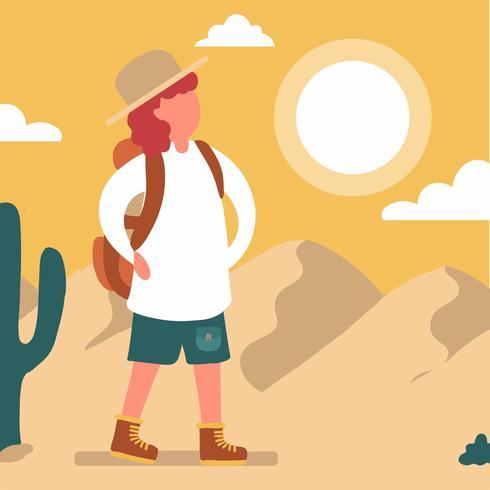 Explorer Man met woestijn scène vector