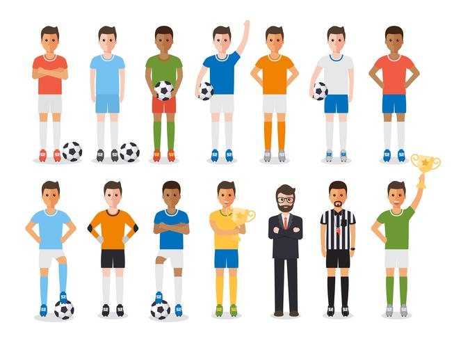 Jugador de fútbol, juego de caracteres del atleta del deporte del fútbol. vector