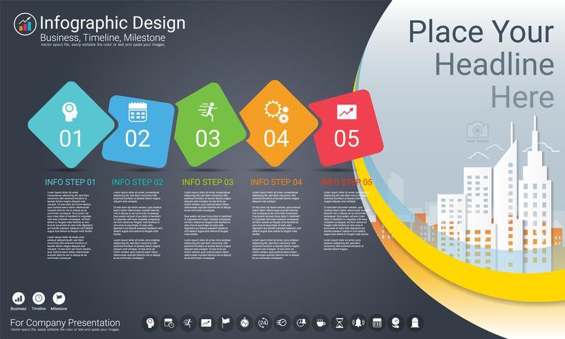 Business infographics mall, Milestone tidslinje eller vägkarta med Process flowchart 5 alternativ.