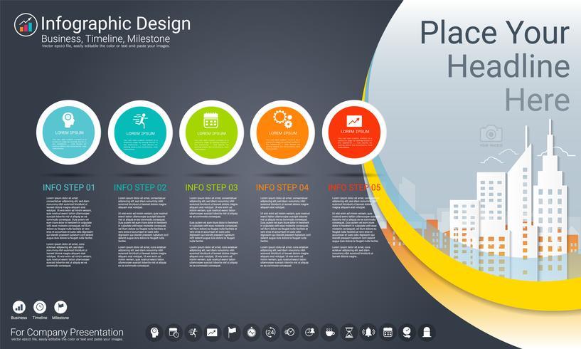 Plantilla de infografías de negocios, línea de tiempo de Milestone o hoja de ruta con opciones de diagrama de flujo de proceso 5. vector