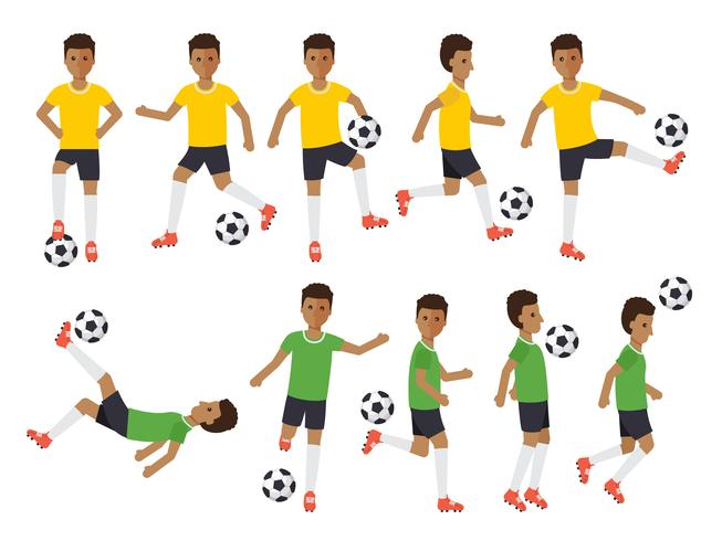 Soccer players, football sport athletes in actions. vector