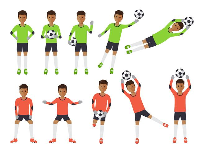 Soccer players, football goalkeeper in actions. vector