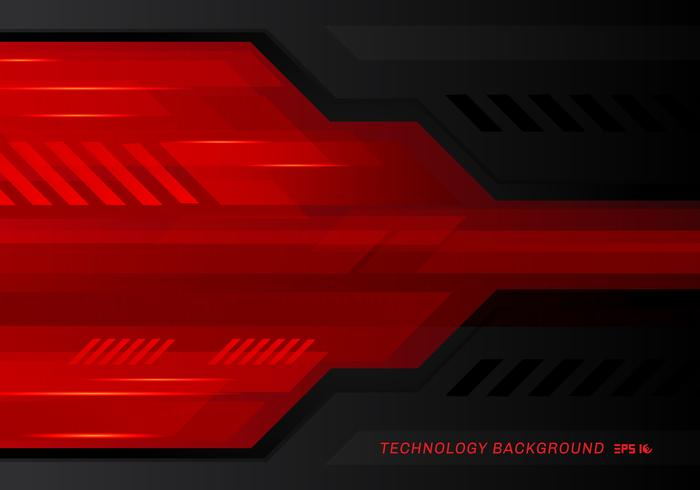 Abstract technology metallic red black contrast tech innovation background. vector