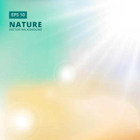 Mousserande solljus och fläckar av ljus från sidorna på en grön bakgrund av naturen. vektor bakgrund
