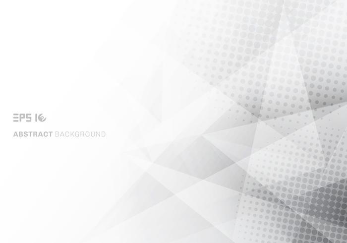 Abstracte lage poly witte en grijze driehoekenveelhoek en halftone met exemplaar ruimte witte achtergrond vector