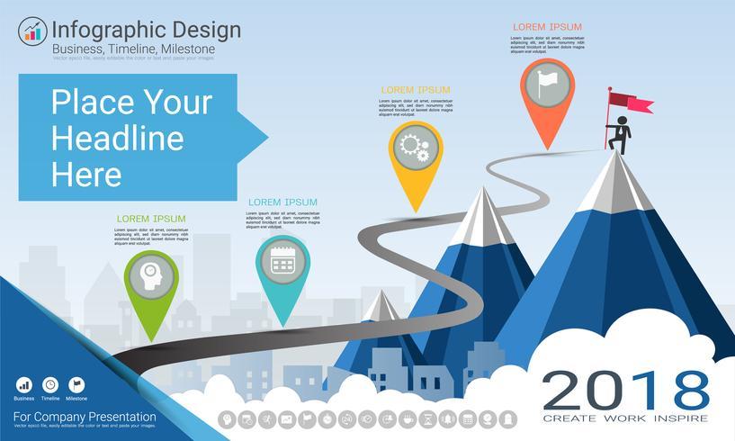 Zakelijke infographics sjabloon, mijlpaal tijdlijn of routekaart met proces stroomdiagram 4 opties.