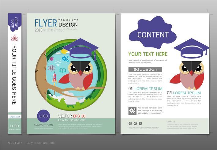 Covers boek ontwerpsjabloon, onderwijs leren concept. vector