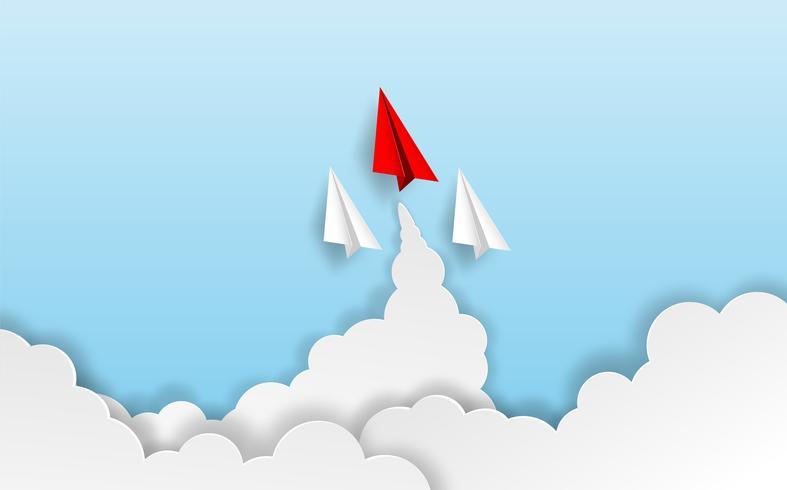 Unternehmensführung, finanzielles Konzept. Rote Papierflugzeugführung zum Himmel gehen zum Erfolgsziel. Papierkunststil. kreative Idee. Vektor.