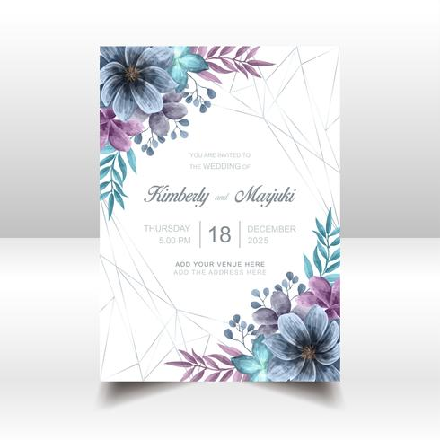 Elegante Hochzeits-Einladungs-Karte mit schönem Aquarell mit Blumen