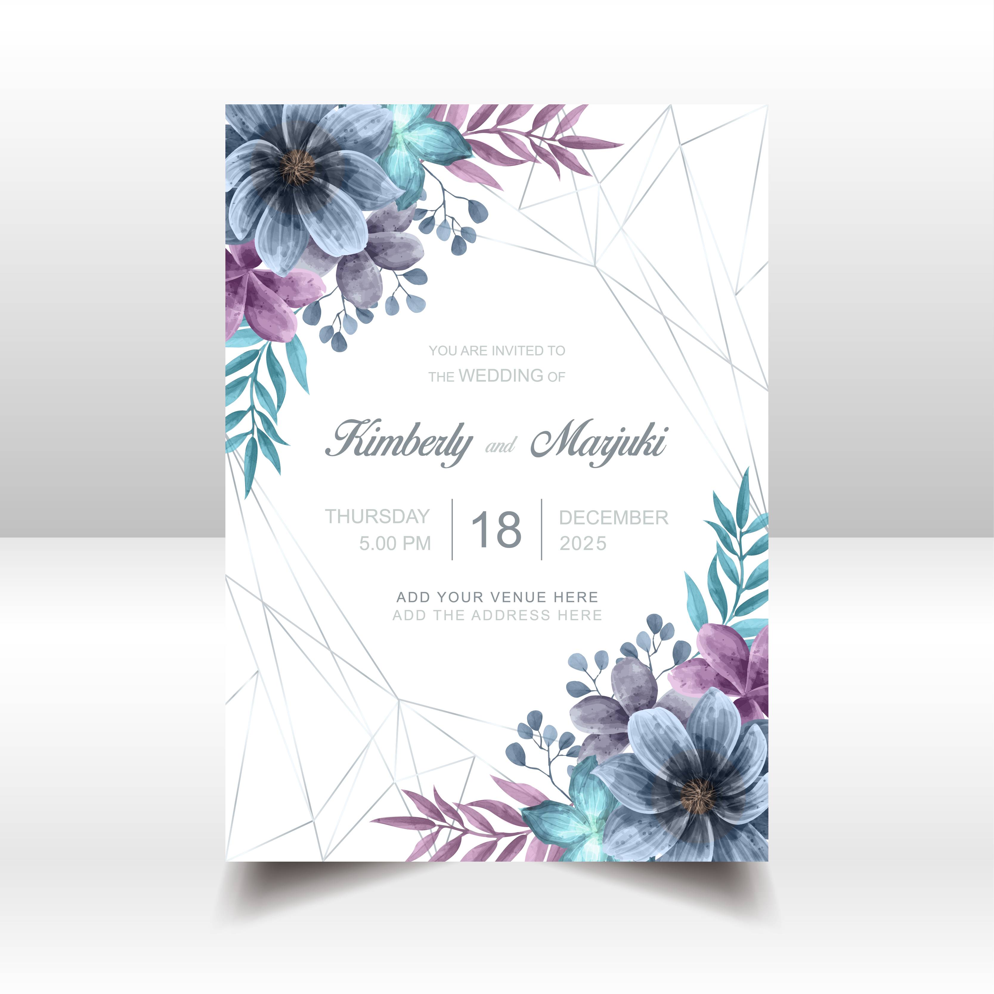 Wedding Invitation Watercolor Flowers Vector: Elegant Wedding Invitation Card With Beautiful Watercolor