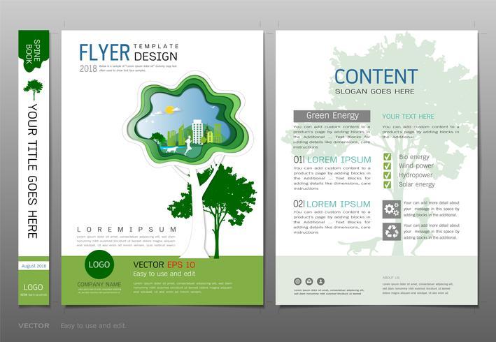 Omsluter bokdesign mall vektor, Grön energi koncept. vektor
