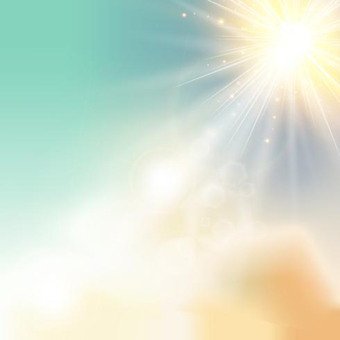 Het zon glanzende zonlicht van de hemelaard met lens flakkert vector