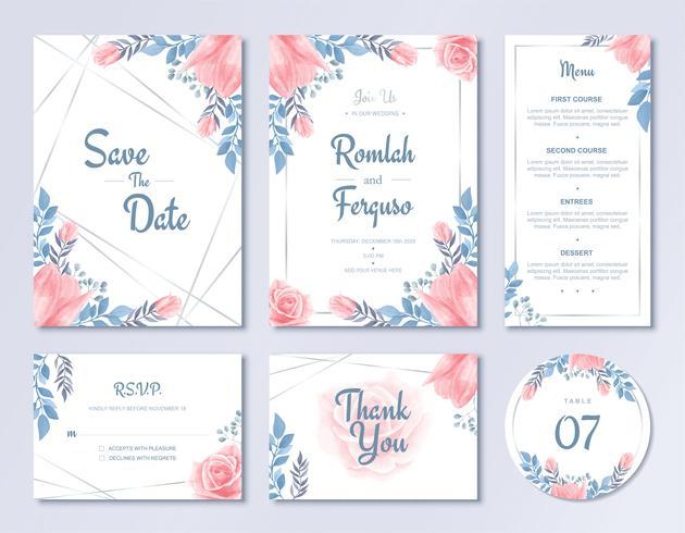 Plantilla de tarjeta de invitación de boda de lujo conjunto acuarela flores estilo floral