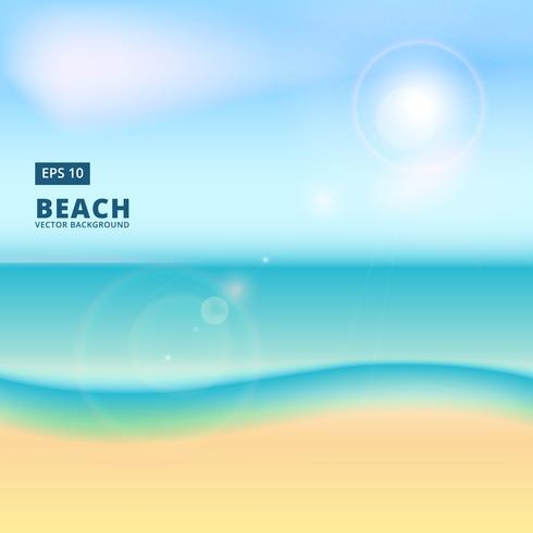 Blurry beach and blue sky with summer sun burst flare, vector background
