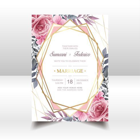 Acuarela floral boda invitación oro marco vector