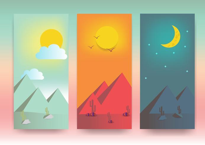 Zeit-Vektorillustrator der Wüstenlandschaftsnatur unterschiedlicher