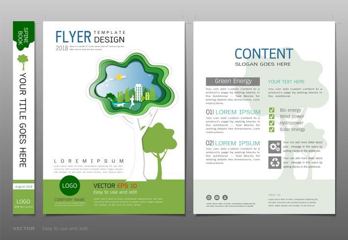 Covers book design template vector, Green energy concept.
