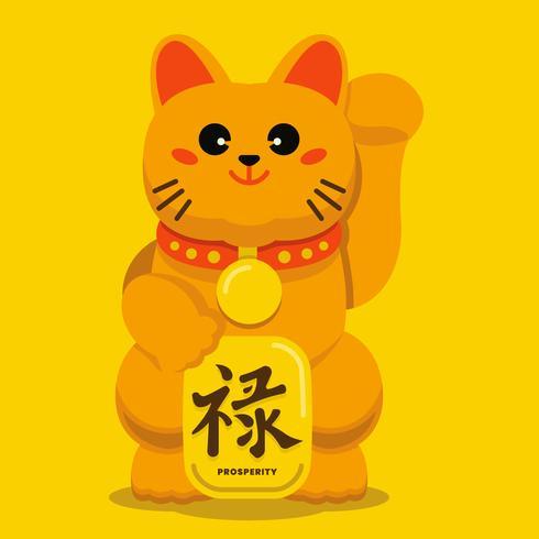 Maneki Neko Mascot Lucky Cat Vector Illustration
