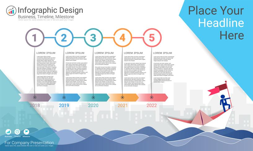 Plantilla de infografías de negocios, línea de tiempo de Milestone o hoja de ruta con opciones de diagrama de flujo de proceso 5.