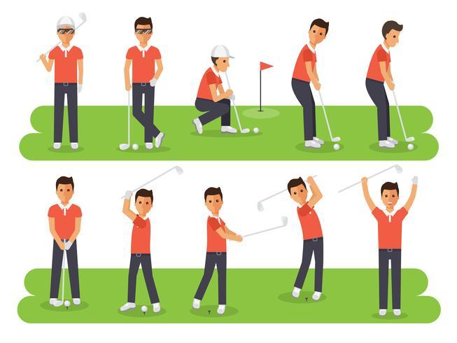 Les joueurs de golf, les athlètes de sport de golf dans les actions.