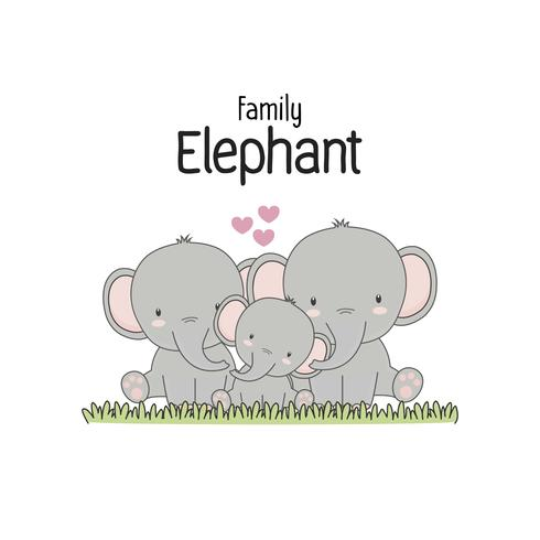 Elephant Family Father Madre e bambino. Illustrazione vettoriale