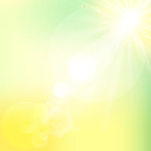 El sol brillante luz del sol de la naturaleza del cielo con lente destellos vector
