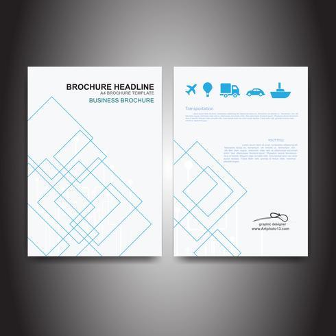 Folleto de negocios con vector de cielo azul de tecnología de cuadrados