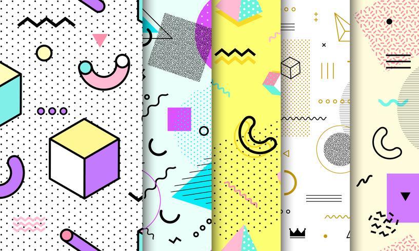 Memphis sömlös mönstersamling. Geometrisk sömlös mönster olika former mode 80's-90-stil. Set med pastell Memphis bakgrund. Abstrakt vektor illustration i minimal design.