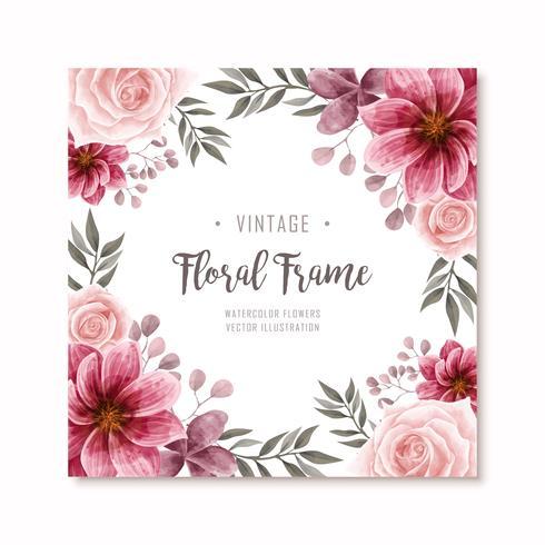 Fondo hermoso del marco de las flores florales de la acuarela roja