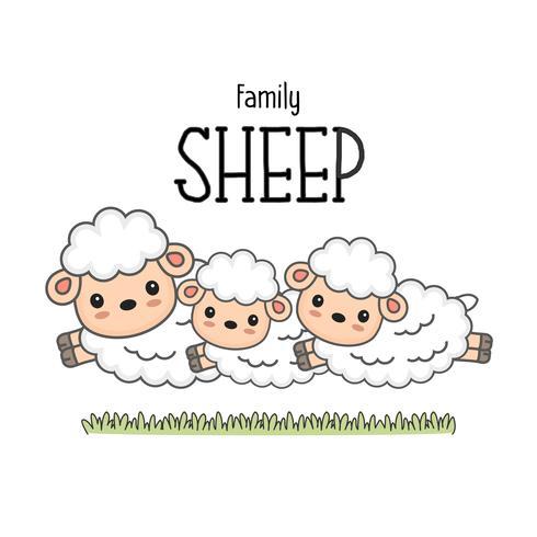 Gelukkige schapenfamilie. Mamma vader en baby schapen cartoon.
