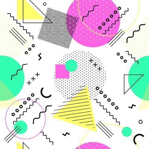 Padrão sem emenda de Memphis colorido. Padrão sem emenda geométrico formas diferentes estilo anos 80-90. Ilustração vetorial