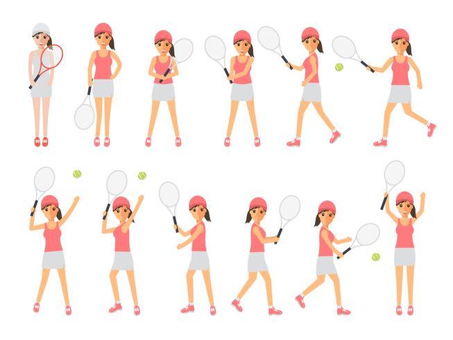 Tenistas, deportistas de tenis, deportistas en acción. vector