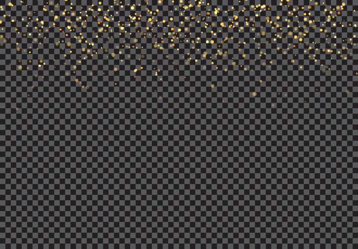 Effet de particules de paillettes d'or tombant sur fond transparent. vecteur