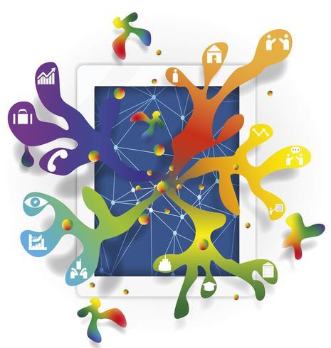 idea infografica con tablet e business design vettoriale, illustrazione