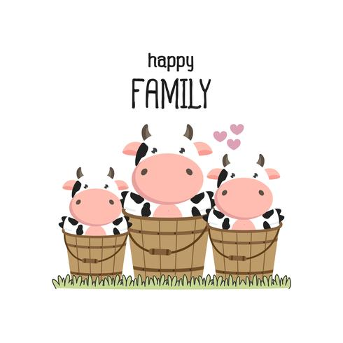 Cute cow Family Father Mother and baby.  vector