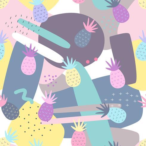 Los patrones sin costuras de piña en el fondo de colores para la impresión y diseño de banners de verano, papel tapiz y estampado de telas textiles. Ilustración vectorial