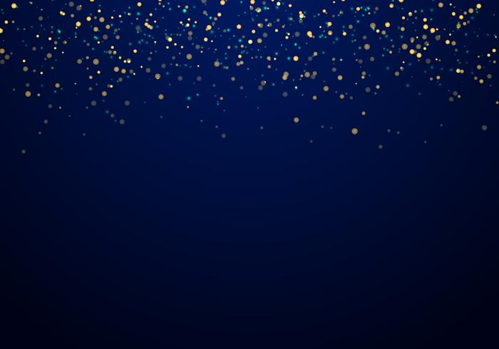Abstract falling golden glitter lights texture on a dark blue background with lighting. vector