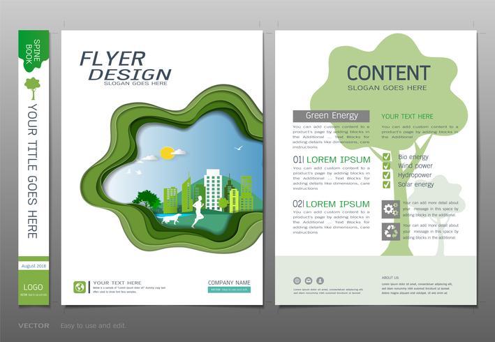 Cubre el vector de la plantilla del diseño del libro, concepto verde de la energía.