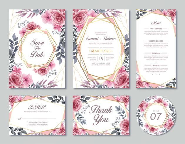 Modello della carta dell'invito di nozze dei fiori messo con stile dell'acquerello