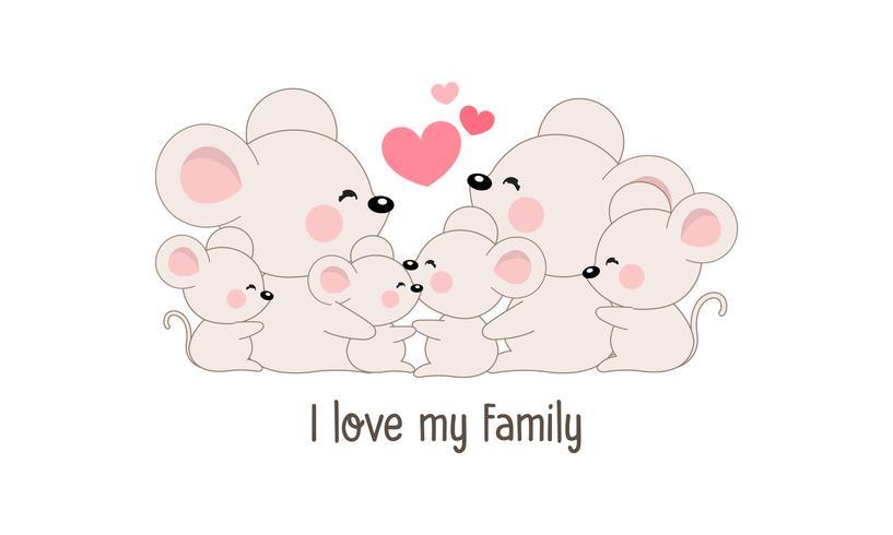 """La simpatica famiglia di topo felice dice """"I love my family""""."""