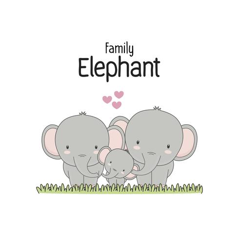 Elephant Family Father Moeder en baby. Vector illustratie.