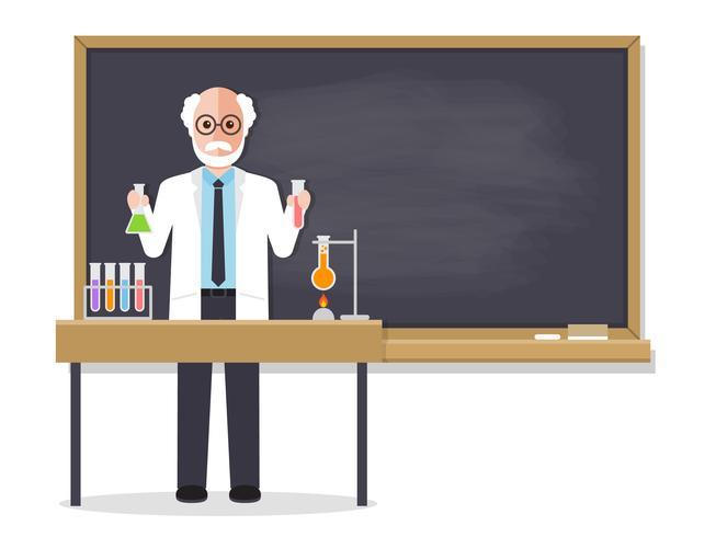 Profesor de ciencias sénior enseñando al alumno en el aula vector