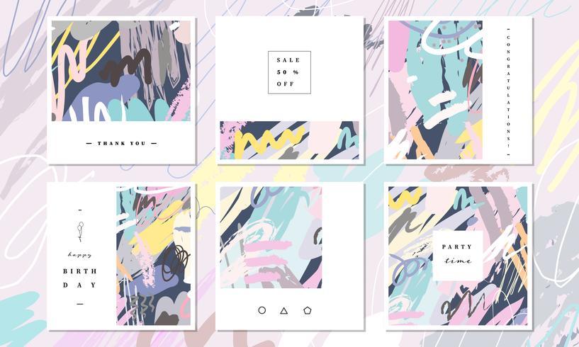 Colección abstracta de la tarjeta. Pintura hermosa del arte coloreada con el elemento del dibujo de la mano para la bandera social de los medios, gracias y tarjeta de felicitación. Plantilla de tarjeta linda Ilustración abstracta del vector del arte del c