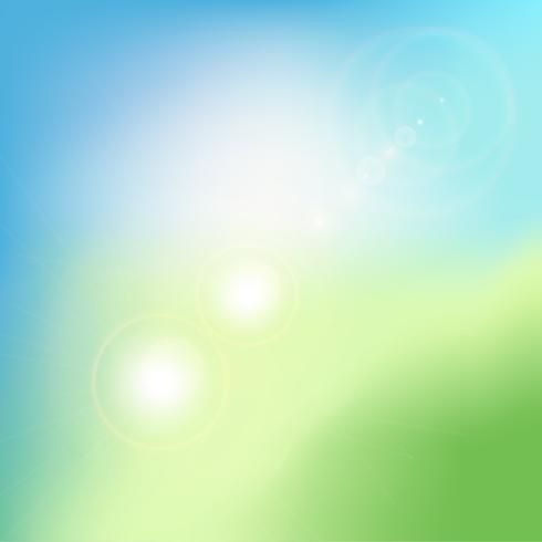 Fondo borroso verde abstracto de la pendiente con la llamarada. Telón de fondo la naturaleza. Ilustracion vectorial Concepto de ecología para su diseño gráfico.
