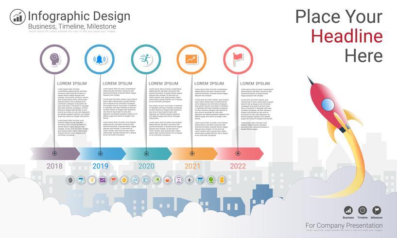 Modèle d'infographie d'entreprise, chronologie du jalon ou feuille de route avec options de l'organigramme de processus 5.