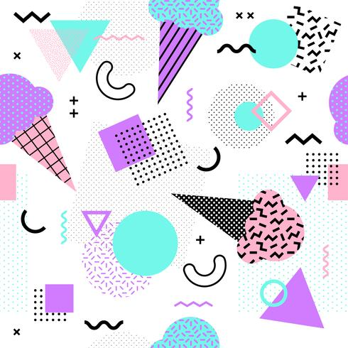 Memphis seamless pattern with ice cream cone and geometric
