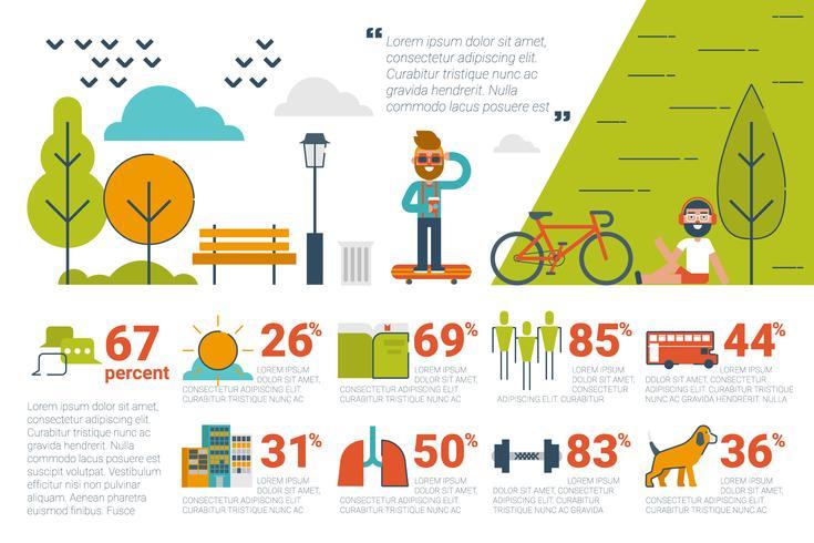 Concepto de parque infografía iconos y elementos